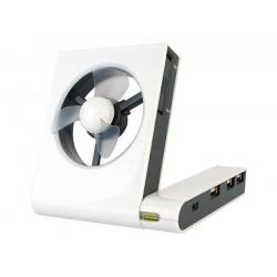 Ventilador con hub usbcable usb. presentacion en caja de carton blanco barnizado.